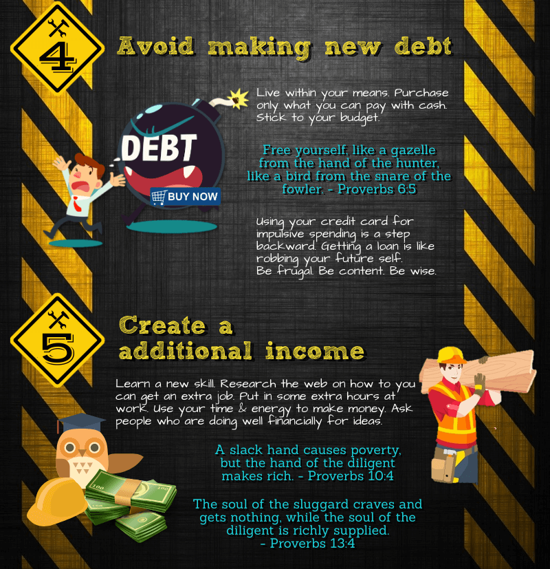 Infographic: How to dig yourselfout of debt, avoid making new debt, and make additional income