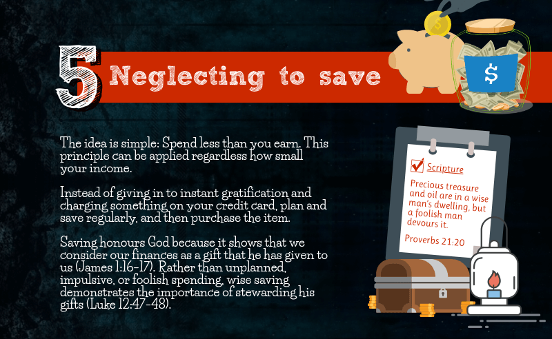 5 Financial Mistakes To Avoid - Neglecting to save