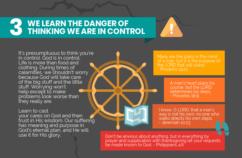 We learn the danger of thinking we are in control